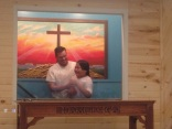 My first Sunday I got to experience an entire family get baptized, this was the youngest son who attends camp.